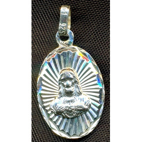 Medalla Del Sagrado Corazon De Jesus Plata .925-