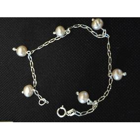 Pulsera De Plata Ley.925 Y Perlas Cultivadas