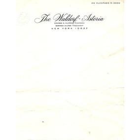 Papel De Carta + Envelope The Waldorf Astoria Hotel New York