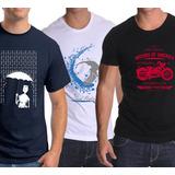 Pack Oferta X3 Remeras Estampadas (robotin, Surfer, Moto)
