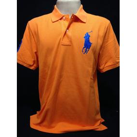Camisa Polo Ralph Lauren Laranja Simbolo Azul Tam M Camiseta 6c4a2344eacf2