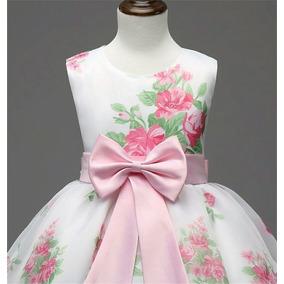 Novo Vestido Da Menina De Verão 2016 Floral Impresso Rosa Pu