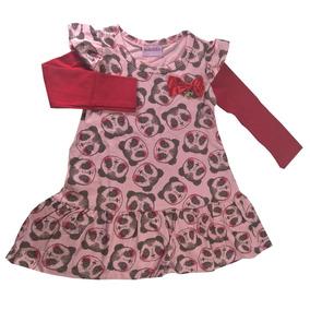 Vestido Infantil Cotton Panda Duduka Rosa/ Vermelho