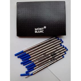 78fccf0fa91 Kit Com 10 Cargas Rollerball Mont Blanc Azul Frete Grátis!