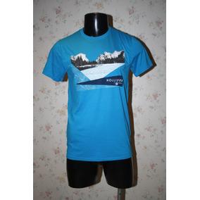 Playera Hollister Hombre Azul Aqua Talla M