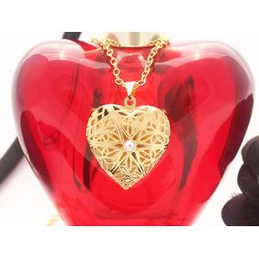 Colar Pingente Relicário Coração Folheado Ouro 18k Namorados