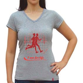 Camiseta Baby Look I Run For Life Casual Sport+frete Grátis e98a8c77a28b0