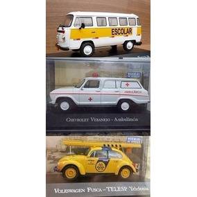 Kit Mini Fusca Telesp Veraneio Ambulanci Kombi Escolar 1:43