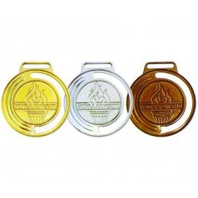 Medalha Vitoria 40mm Ouro/prata/bronze - Com Fita Cetim Unid