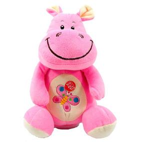 Hipopotamo De Pelúcia 22 Cm Cofre Com Som Animais Brinquedos