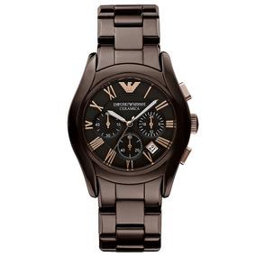 424a6799622 Relógio Emporio Armani Ar1446 Cerâmica Marrom Original. R  1.299