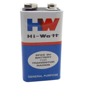 Bateria 9v Hi-watt 6f22 Caixa C/ 10 Unidades Longa Duração