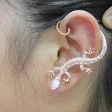 Ear Cuff Salamandra Plateada O Dorada Zarcillo Solitario