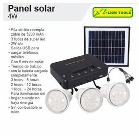 Panel Solar Incl 3 Focos Led Y Bateria Recargable Salida Usb