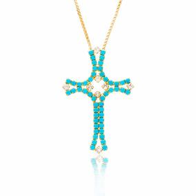 Colar Corrente Folheado Ouro 18k Semi Jóia Lindo Crucifixo