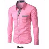 Camisa Masculina - Slim Fit M Longa Diversos Modelos P e F g b6a282bb49983
