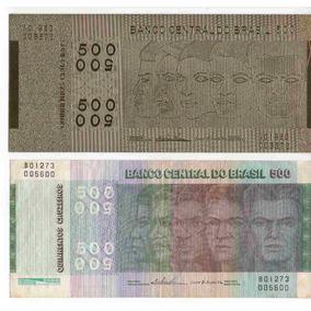 Cedula 500 Cruzeiros Raças +nota Metalizada Ouro Certificado