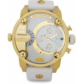 Relógio Diesel Dz7273 Little Daddy Branco Banhado A Ouro 18k