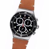 Reloj Swatch Yvs424 Disorderly Cronografo Acero Cuero