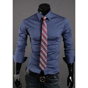 df3ddcdb1f022 Camisa Slim Fit - Camisas Manga Larga de Hombre Azul acero en ...