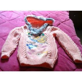 Blusa Infantil Com Gorro De Fio De Lã Bordada Trico À Mão 26c4ac235b7