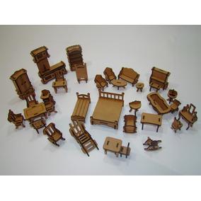 Kit Mini Mobília 34 Itens Para Casinha De Boneca Casa Polly