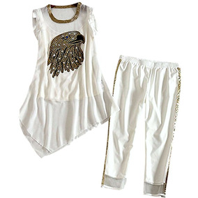 335040932b2e7 Conjunto Branco Em Seda Pura De Calça E Blusa Bordados