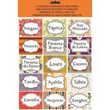 03 Cartelas Com 15 Etiquetas Temperos - Decoração Vidros