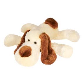 Cachorro Pelúcia Bege Deitado 35 Cm Lavável Antialérgico