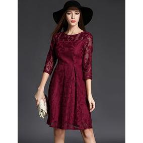 Vestido Color Vino Encaje - Vestidos de Mujer en Mercado Libre México 8a01ce30a670