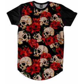 Camiseta Oversized Long Masculino Swag Caveira Floral Swag 90b47133645