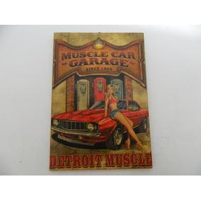 Placa Decorativa Mdf Retrô Vintage Muscle Car Garage