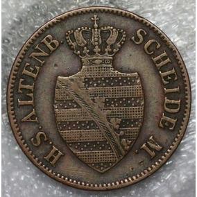Alemanha Saxony Altenburg 2 Pfennige 1852 F Copper Cobre #a0