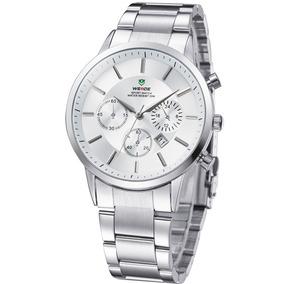 Relógio Prata Clássico Aço Inoxidável Weide Calendário W3312