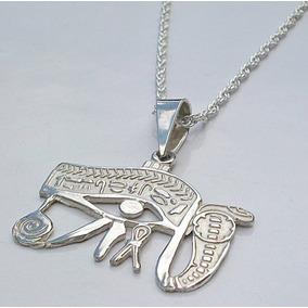Dije Ojo De Horus Amuleto Magico En Plata Fina Ley.925