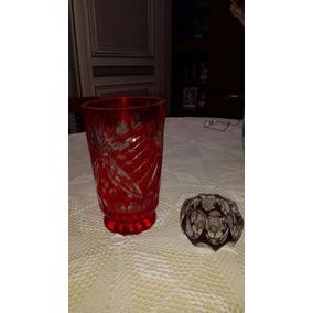 Florero Rojo - Cenicero Bordo- Cristal Tallado