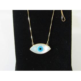 fe79db260b7df Colar Olho Grego Madre Perola Ouro 18k Tipo Olho De Horus! - Colar ...