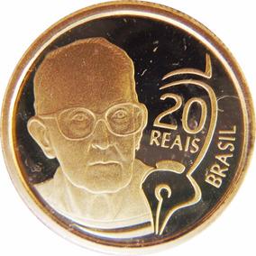 Moeda De Ouro 20 2002 Comemorativa Carlos Drumond 8 G