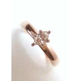 Anillo Compromiso Oro 10k Diamante Central Almendra .20q