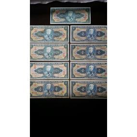 Lote Com 9 Cédulas De Dois Cruzeiros Em Excelente Estado