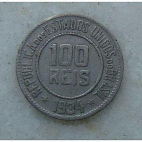 Raridade - Antiga Moeda De 100 Reis De 1934 P/ Colecionador