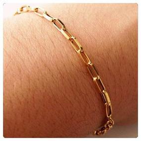 1087415d6d0 Pulseira Masculina Ouro Amarelo Elo Cadeado 18k 750 Maciça