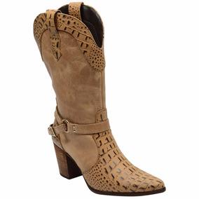 e9fb416a910ef Bota Country Texana Feminina Couro Crocodilo Madeir Escrete