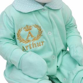 Kit Saída Maternidade Class Baby Verde Personalizada 4 Peças