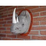 Cabeza Decorativa Rinoceronte Blanco De Resina Alto Detalle