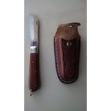 Canivete Com Bainha Capa De Couro Aço Inox Cabo Madeira