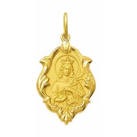 Medalha Santa Catarina Em Ouro18k Pingente Ornato.04