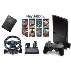 Playstation 2 + Volante + 2 Controles+10 Jogos+memory Card