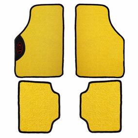 Jogo De Tapete Kia Amarelo Pvc Texturizado Logo Bordado
