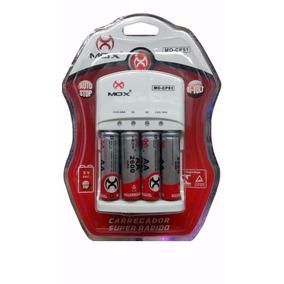 Carregador Mox Com 4 Pilhas Aa Recarregável 2600 Mah Mo-cp51